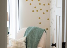 Gold polka doct wall decals in corner 217x155 8 Fun and Easy Ways to Use Polka Dot Wall Decals