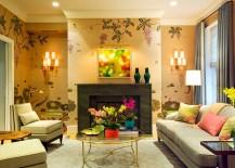 Golden glitz meets jewel-toned beauty in this living room