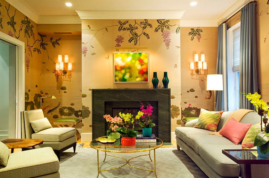 Golden glitz meets jewel-toned beauty in this living room [Design: Dufner Heighes]
