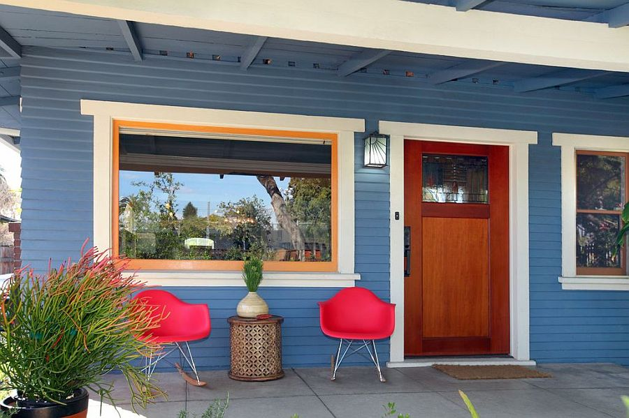 Gorgeous blue shapes the exterior of the renovated Hollywood Craftsman bungalow