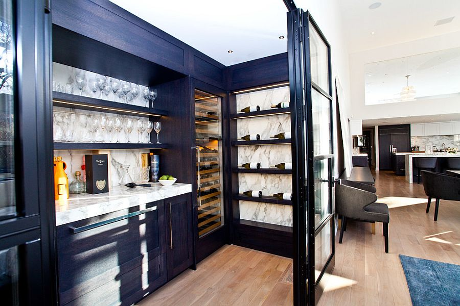Home Small Bar Ideas Part - 31: ... Gorgeous Built-in Home Bar With A Lovely Display For Your Wine  Collection [Design