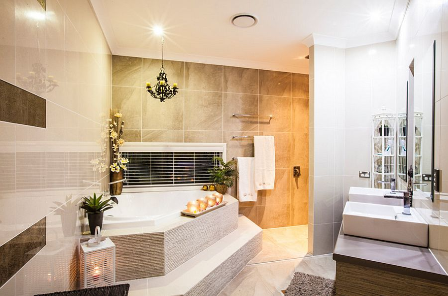 Gorgeous contemporary bathroom with a luxury spa ambiance [Design: Dan the Sparky Man]