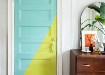 Gorgeous door color blocking with teal and bright green paint