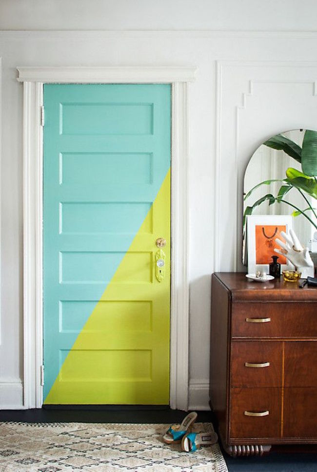 View In Gallery Gorgeous Door Color Blocking With Teal And Bright Green  Paint