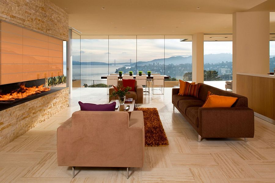 Gorgeous living room with a view of the Golden Gate bridge in the backdrop