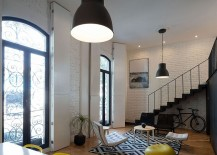 Gray industrial style pendant lighting in the living space