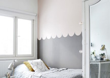 Gray wave design wall color blocking 217x155 22 Clever Color Blocking Paint Ideas to Make Your Walls Pop
