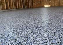 Grey epoxy floor with blue flakes