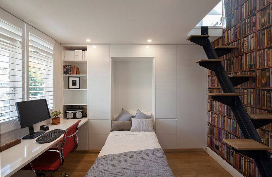 Home office with a hidden bed and ample storage space