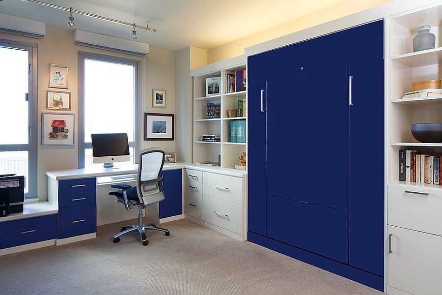 Home office with custom bed design that folds away [Design: Valet Custom Cabinets & Closets]