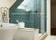 Huge shower that takes advantage of an attic window 217x155 15 Attics Turned into Breathtaking Bathrooms