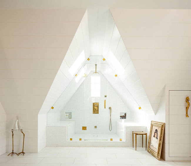 Huge shower that takes advantage of attic architecture
