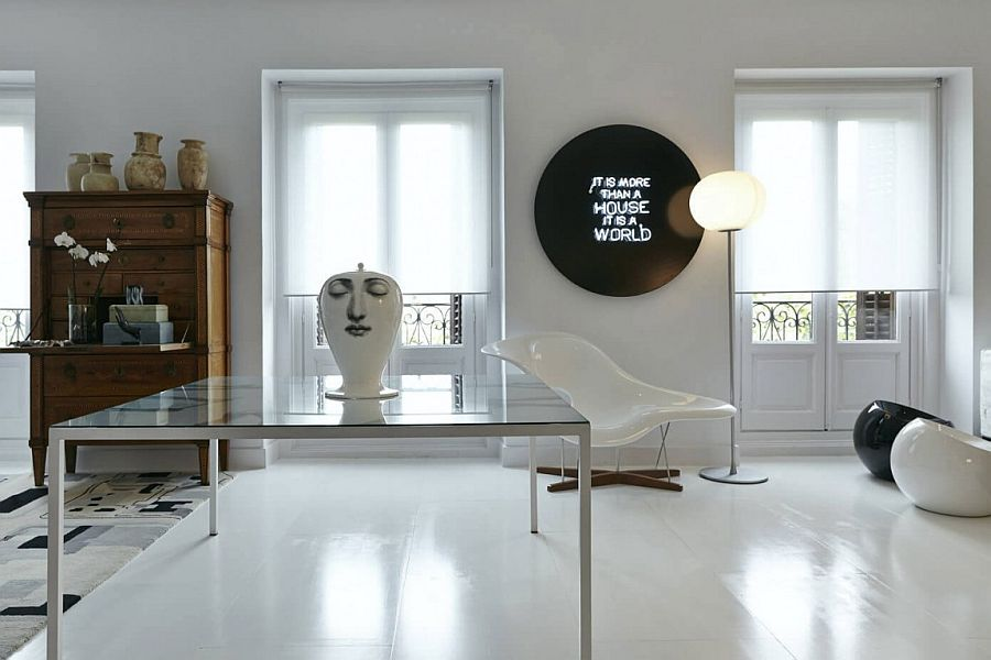 Illuminated sign on the wall and traditional wooden desk
