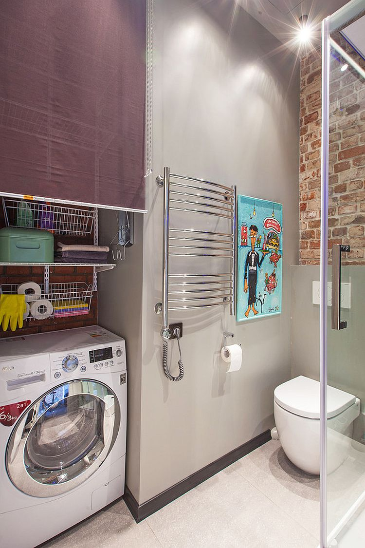 Industrial and contemporary styles meet inside tiny Moscow bathroom