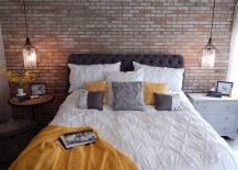 Industrial bedroom with mismatched nightstands