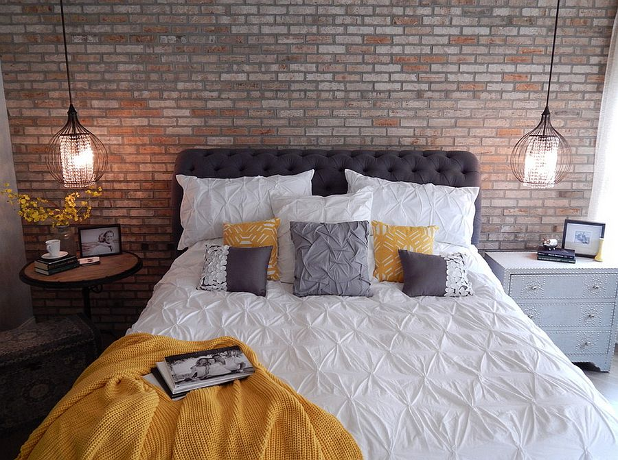 Industrial bedroom with mismatched nightstands [Design: VIP Interior Design]