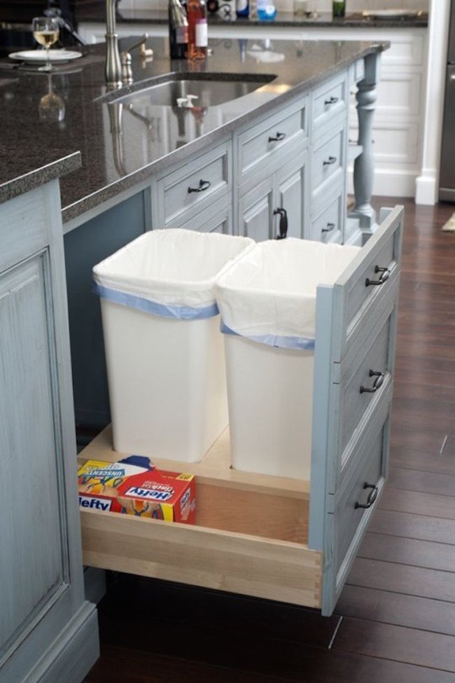 8 ways to hide or dress up an ugly kitchen trash can 21340 | ingenious way to make room for more garbage cans