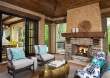 Inimitable gold coffee table for the cozy porch with plush seating and fireplace