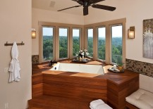 Inset tub and corner windows put the emphasis on view outside!