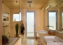 Ivory vain-cut Turkish travertine floors inside the bathroom