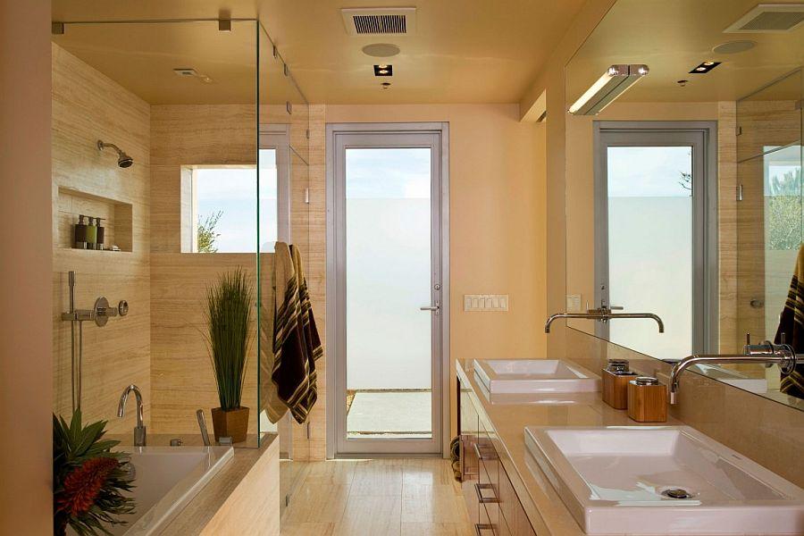 View In Gallery Ivory Vain Cut Turkish Travertine Floors Inside The Bathroom