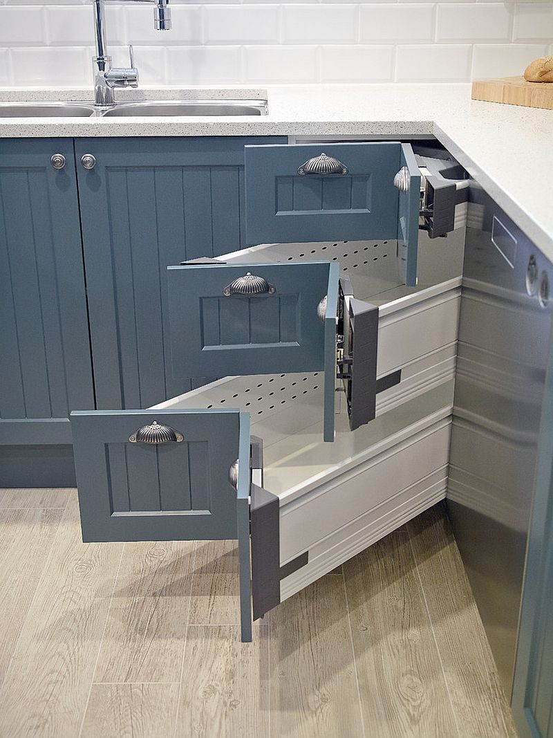 30 corner drawers and storage solutions for the modern kitchen for Kitchen drawers