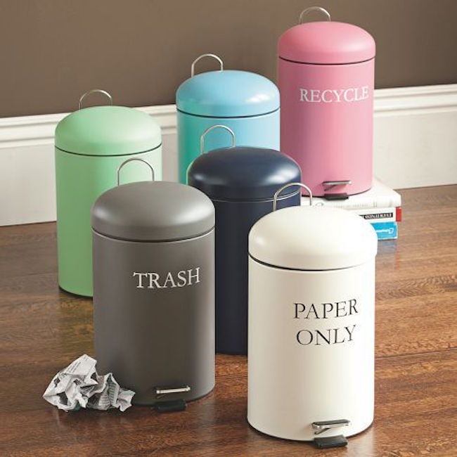 Labeled Trash Cans For Categorizing Waste