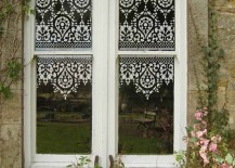 Lace stencil design on windows 217x155 15 Elegant Ways to Decorate with Lace