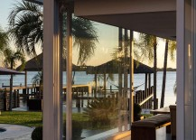 Lakeside hangour with a hammock adds to the beauty of the pool house
