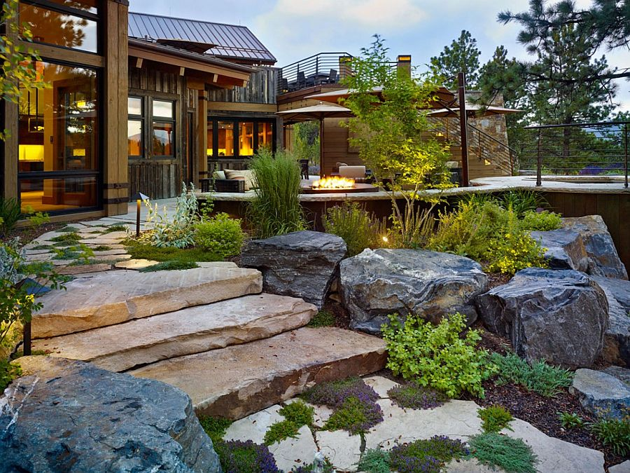 Landscape around the homemelts into the exterior deck creating a seamless fusion