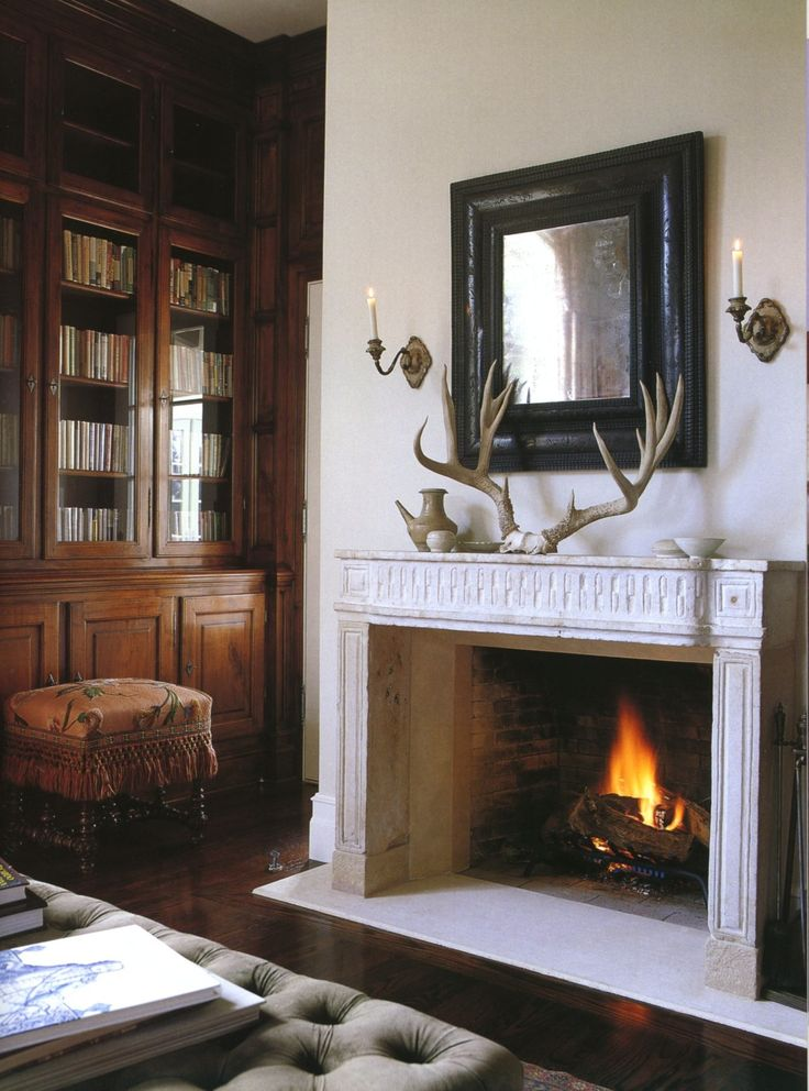 Large antlers to dress up a fireplace