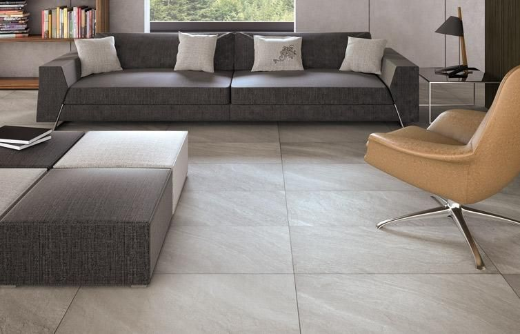 Make a statement with large floor tiles for Living room flooring ideas tile
