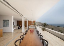 Large outdoor dining space and hangout connected with the living area visually and overlooking the Pacific 217x155 House in Ancon: Majestic Hillside Retreat Overlooking the Pacific