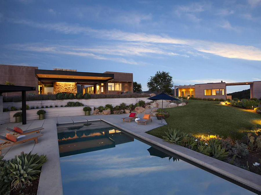Lavish deck and pool of the Toro Canyon home