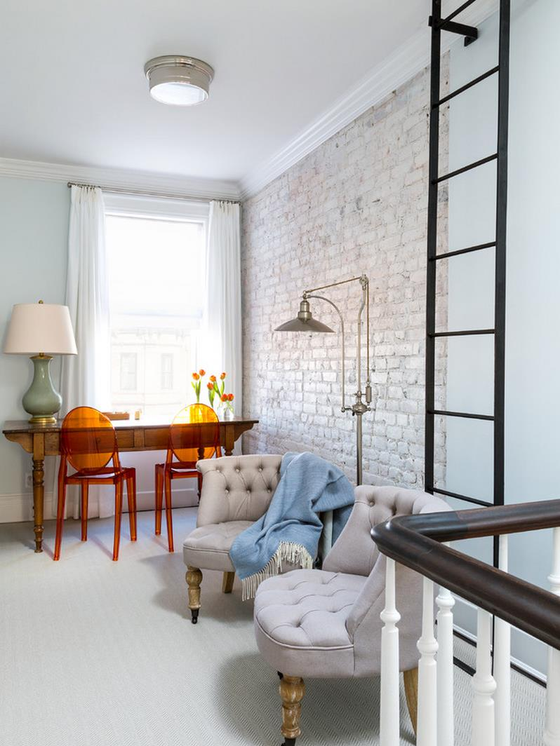 Light and airy whitewashed brick wall