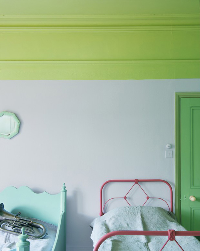 View In Gallery Lime Green At The Top Of A Bedroom Paired With White Walls