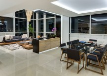 Living area and dining room of the gorgeous penthouse in Mexico City