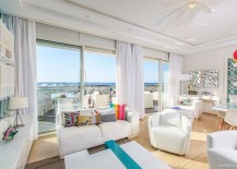 Living room in white with pops of brilliant color and ocean view 217x155 Splashes of Brilliance: Vivacious Home in Skhirat Overlooking the Atlantic