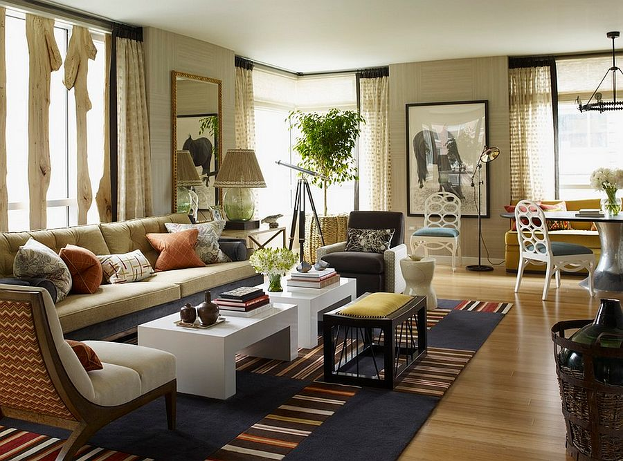 Living room looks less chaotic because of the uniform color scheme [Design: Thom Filicia]