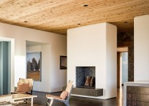 Living room of the Oak Knoll Residence with a wooden ceiling