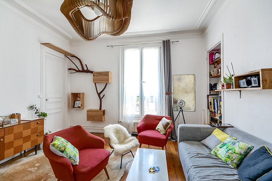 Living room of tiny Paris apartment with a style of its own [Photography: meero]