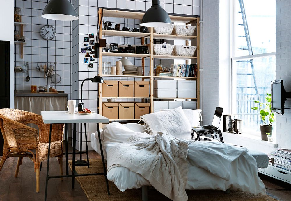 Loft style interiors with very limited space can also throw up beautiful bedrooms like this one