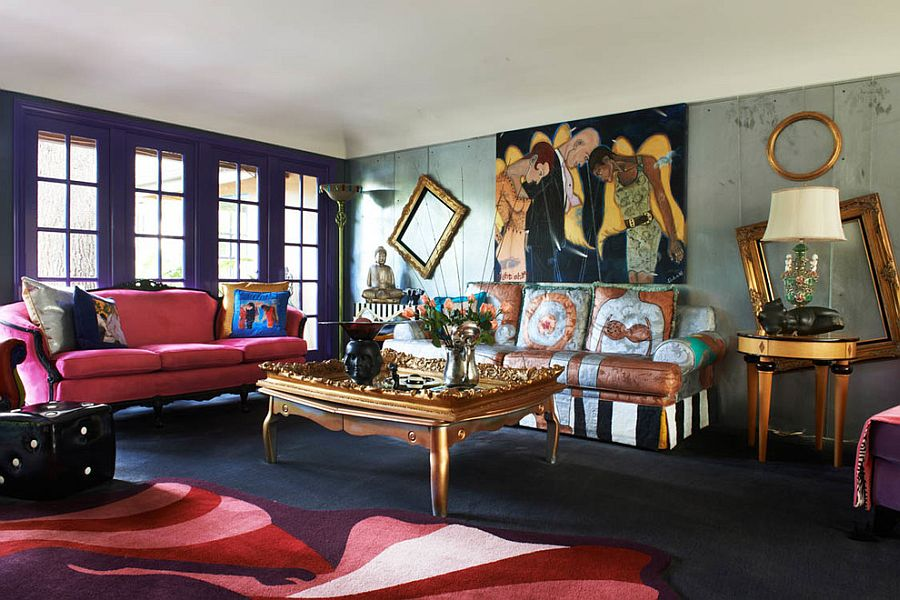 Love the use of empty god frames in this eclectic LA living space [Design: Unconscious On Canvas]