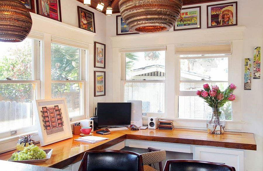Lovely home office with smart organization and plenty of natural ventilation