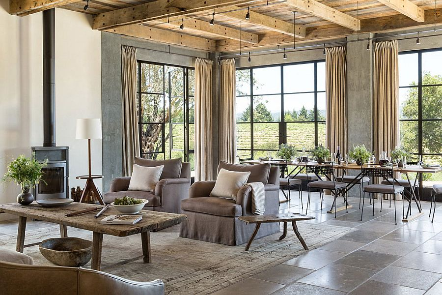 Lovely interior of the ranch home with large windows