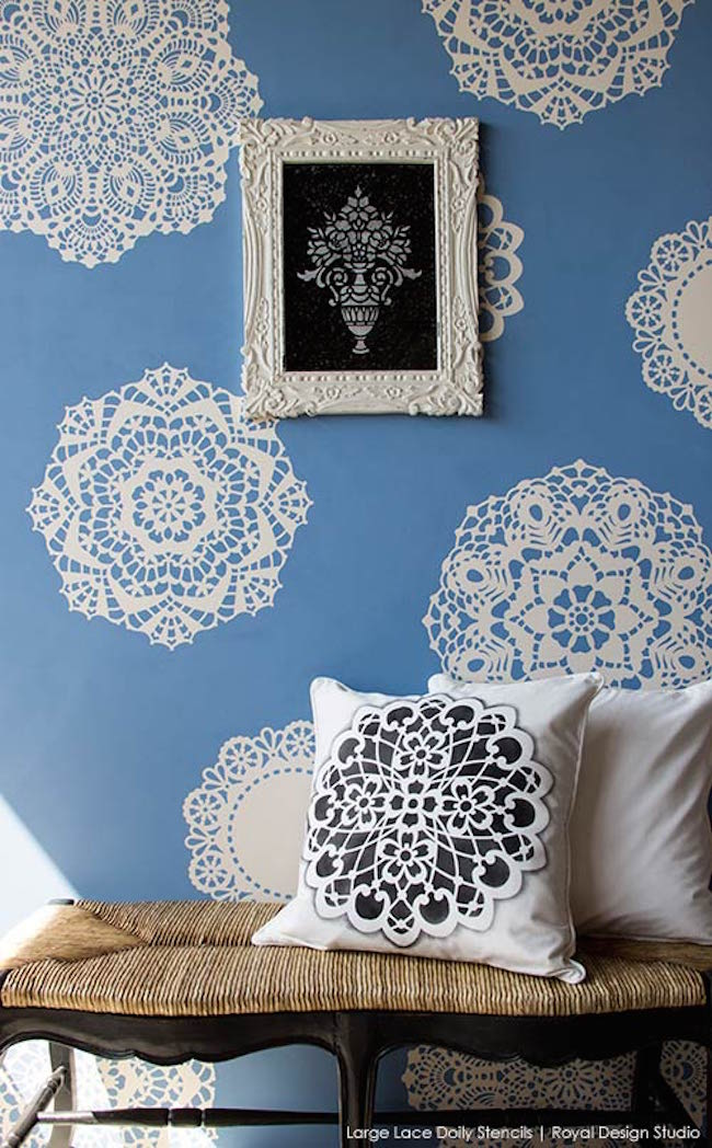 Lovely lace doily wall