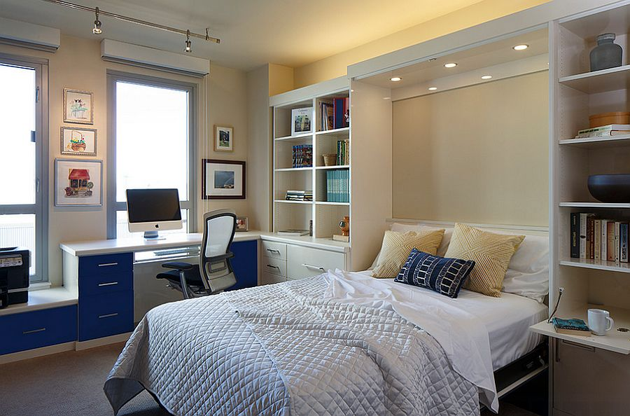 Lovely lighting adds to the ambiance of the home office and guestroom