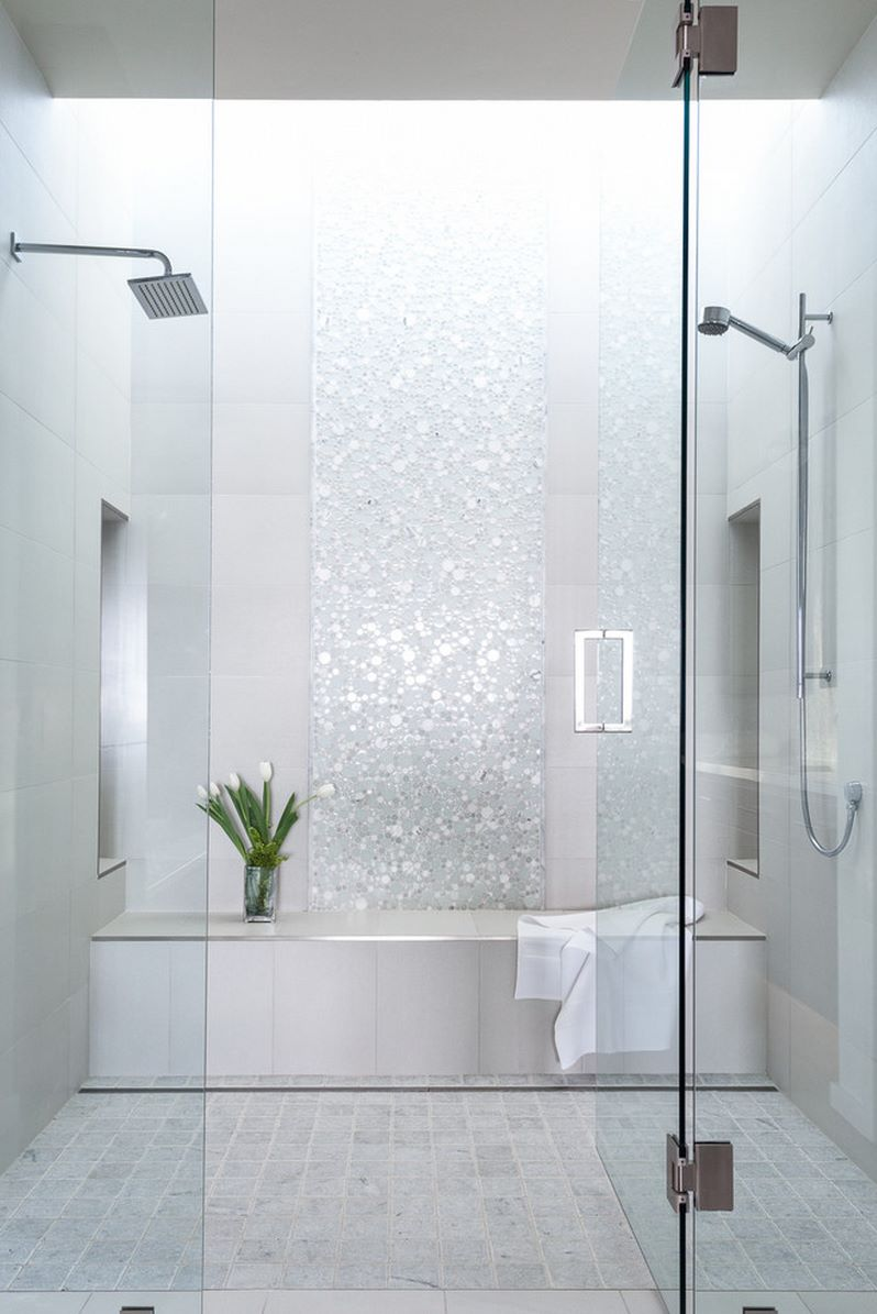 Lovely shower with circular mosaic tiles