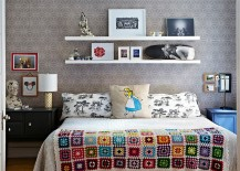 Lovely use of bedside tables in small bedroom with limited space