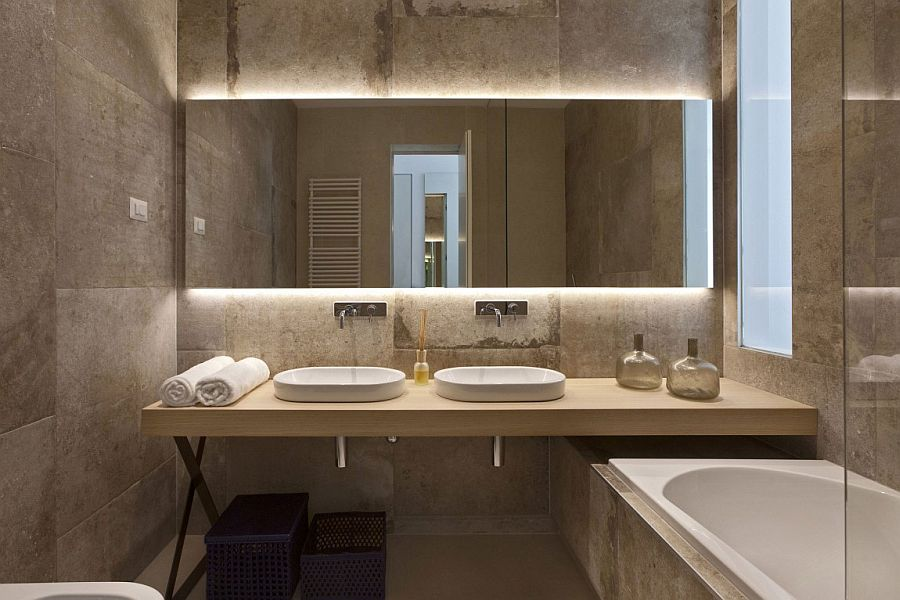 Lovely use of natural stone in the contemporary bathroom